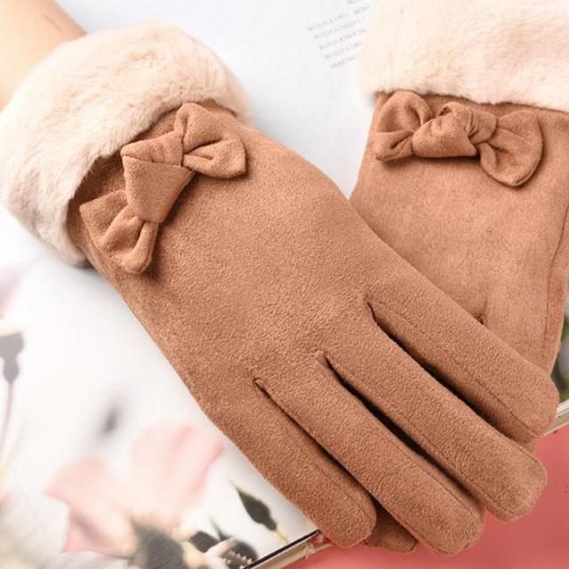 Gloves Female Autumn And Winter Warm Gloves Thick Velvet Touch Screen Bike Gloves Suede Cute Bow Gloves 4