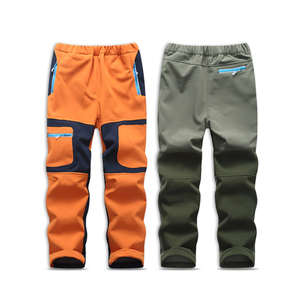 Image 2 - Brand Waterproof Boys Girls Pants Warm Trousers Sporty Climbing Trousers Children Patchwork Soft Shell Outfits For 105 160cm