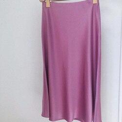 Falda acampanada de Color liso de acetato de 100% para primavera con cintura elástica de verano para mujer