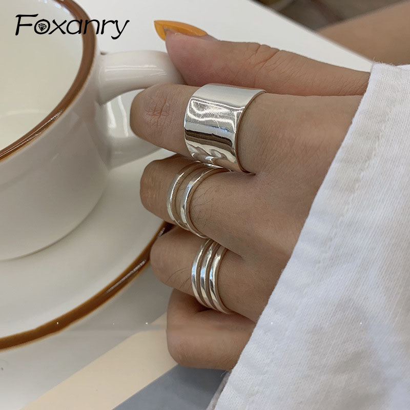 Foxanry New Fashion 925 Sterling Silver Finger Rings for Women Minimalist Geometric Handmade Width anillos Party Jewelry Gifts