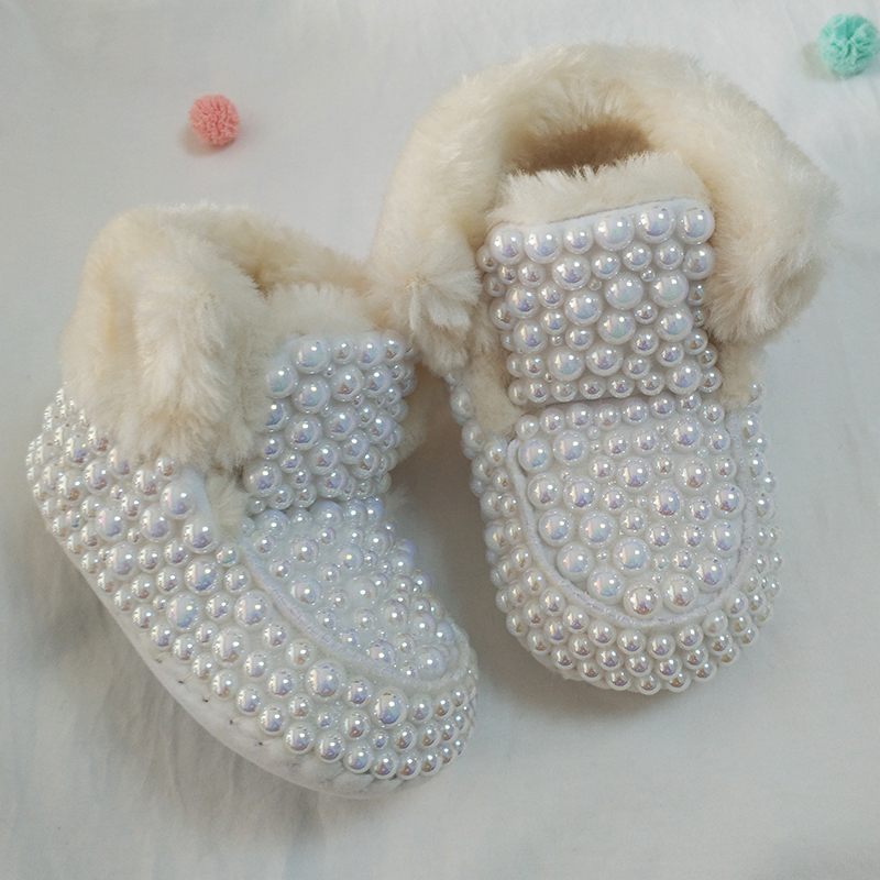 Newborn Baby Rhinestones Bling Snow Boots Infant Cotton Luxury Shining Pearl Decoration Baby Girls Boots Shoes Autumn Winter