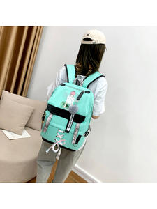School-Bags Canvas Backpack Women Teenagers Large-Capacity Girls Green High-College Usb