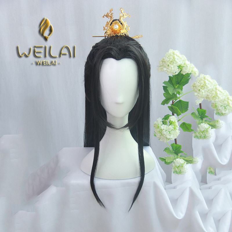WEILAI Ancient Chinese Men Vintage Wigs For Men Han Dynasty Ancient Style Wig Ancient Costume Versatile Daily Used Custom Wig