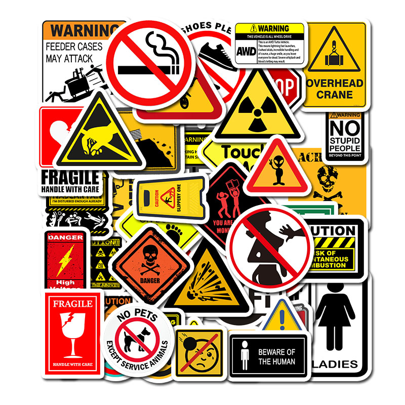50pcs Warning Sign Sticker Wallpaper Decal Motorcycle Skateboard Fridge Doodle Funny Stickers For Auto Laptop Trunk Toy Sticker