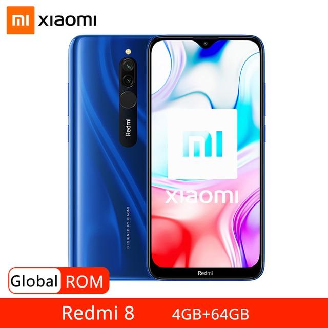 Xiaomi Redmi 8 teléfono inteligente con Octa Core, 4GB RAM, 64GB ROM, procesador Snapdragon 439, cámara Dual de 12,0mp, batería de 5000mAh, pantalla HD de 6,22 pulgadas