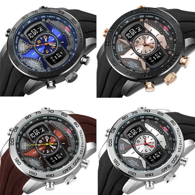Kt714 الرجال في الهواء الطلق الرياضة مضيئة عمق مقاوم للماء ساعة الإلكترونية ساعة كوارتز الساعات الإبداعية 5
