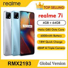 Realme 7i RMX2193 6.5 ''HD + 4GB 64GB 48MP AI üçlü kameralar Smartphone Helio G85 Octa çekirdek 18W hızlı şarj 6000mAh cep telefonu