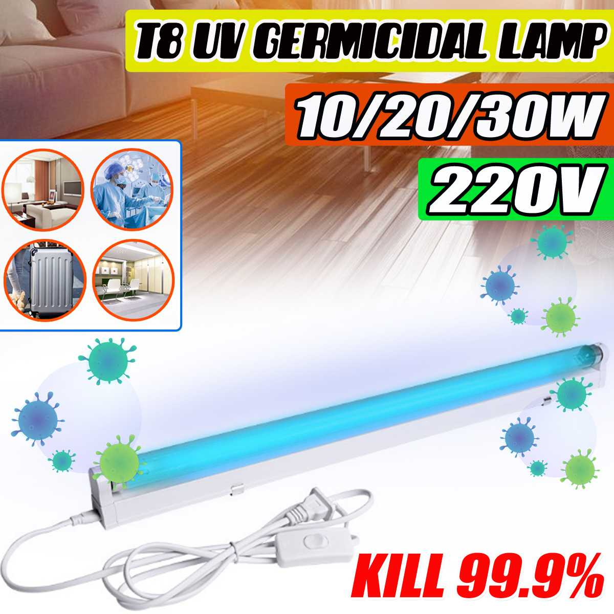 30W 20W 10W Uvc Lamp Sterilizer Lampe T8 Uv Light Led Tube Ultraviolet Germicidal Lamp Ozone Disinfection Lamp Kill Dust Mite