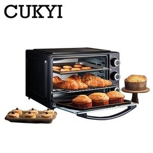 CUKYI 32L Мини-Автоматическая электрическая духовка, многофункциональная машина для выпечки, 1500 Вт, трехслойная печь для пиццы, торта, кухонные ...