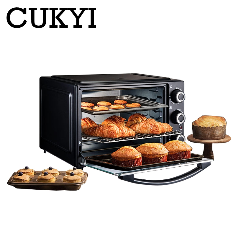 CUKYI 32L mini automatic electric oven multifunction baking machine 1500W three layers cake pizza oven kitchen cooking tools EU