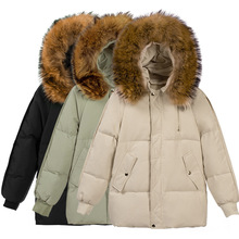 Womens Winter Jackets Coat Cotton Warm Outwear Overcoat Parkas Korean M-long Style Loose Clothes Pockets Hooded Streetwear Black