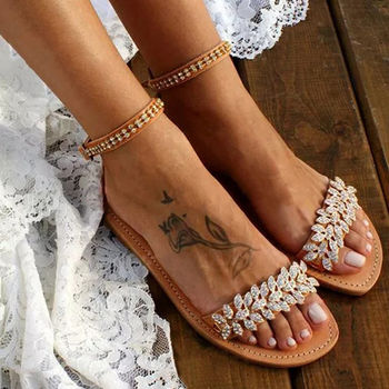 SEGGNICE Summer Flat Sandals Women Bohemian Style Shoes Casual 2020 Beach Wedding Plus Size Rhinestone Open Toe
