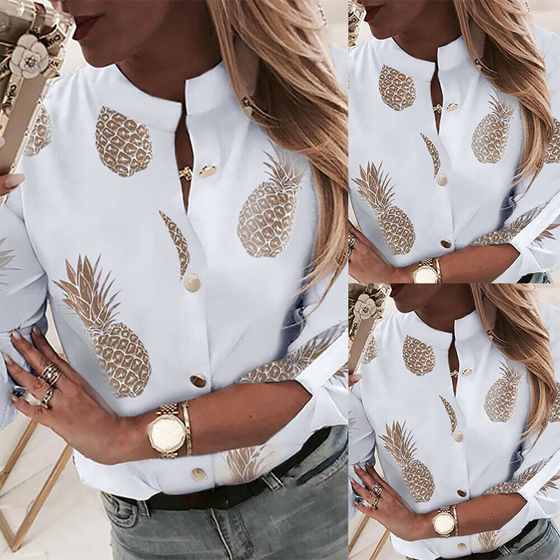 New Ladies Casual Button Down Blouse Shirt Spring Womens Pineapple Printed Shirt Autumn Female Long Sleeve Stand Collar Blouse