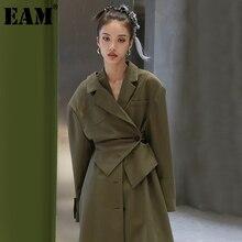 [EAM] donna verde irregolare lungo Trench di grandi dimensioni nuovo risvolto manica lunga allentato Fit giacca a vento moda primavera autunno 2021 1DD0242