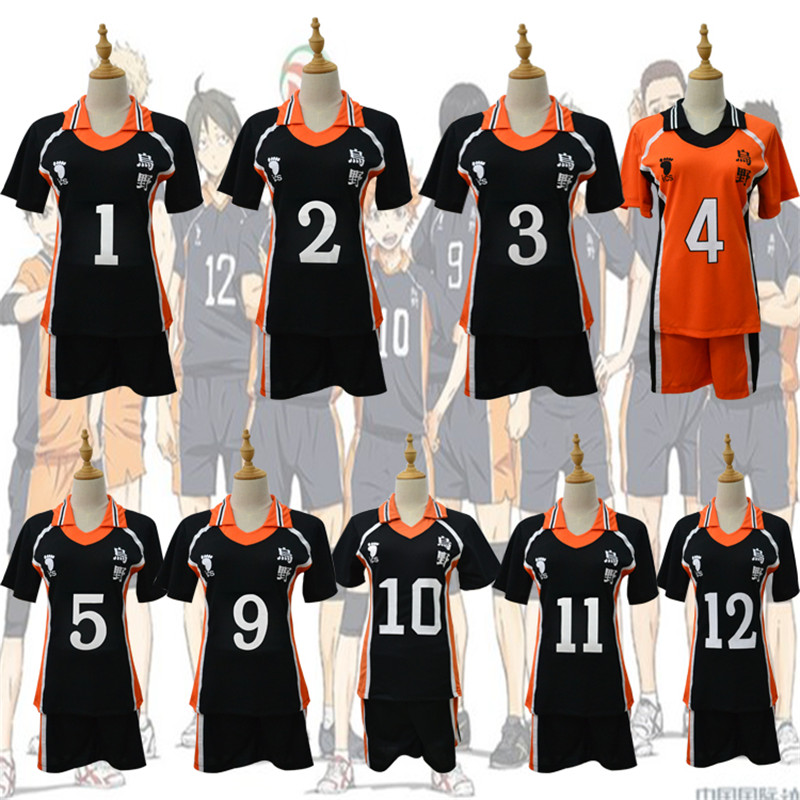 2 PCS Sets Haikyuu Cosplay Costume Karasuno High School Volleyball Uniform Hinata Shyouyou Sportswear Jerseys Top + Shorts Sets