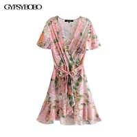 GYPSY Boho elegancka, letnia vintage, w kwiaty Wrap wzburzyć Mini sukienka kobiety moda V Neck Flare rękawem sukienki plażowe Vestidos Mujer