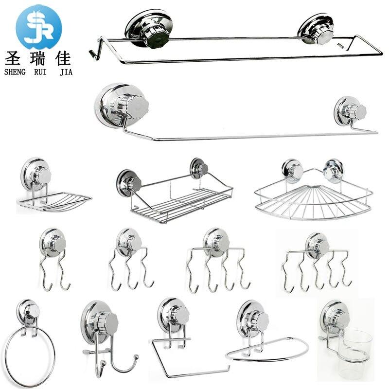 Shengruijia Stainless Steel Bathroom Hook Unit Kit Strong Spacious Sucker Towel Rack Hole Punched Hook Cross Border