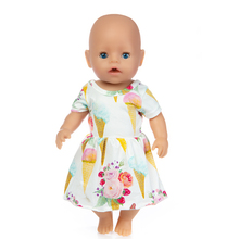 Fit 18 inch 43cm Born New Baby Doll Clothes Yellow Blue Rabbit Rainbow Dress Ice cream accessories For Gift