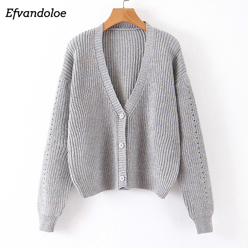Efvandoloe Casual Sweater Women V Neck Long Sleeve Clothes Autumn Fall 2019 Cardigan Sweter