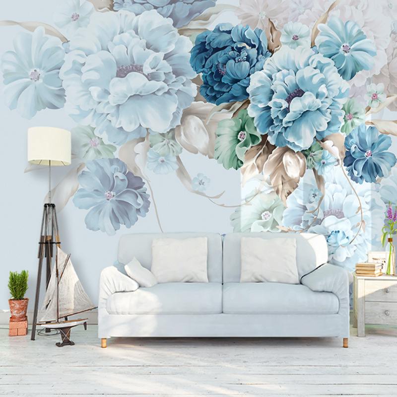 Northern European-Style Fresh Peony Living Room Television Wall Painting Customizable American-Style Warm Bedroom Wallpaper Seam