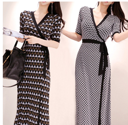 2019 Summer Wear New Style Korean-style Long Skirts Elegant V-neck Slim Fit Lace-up Waist Hugging Fashion Wrap Dress Women's