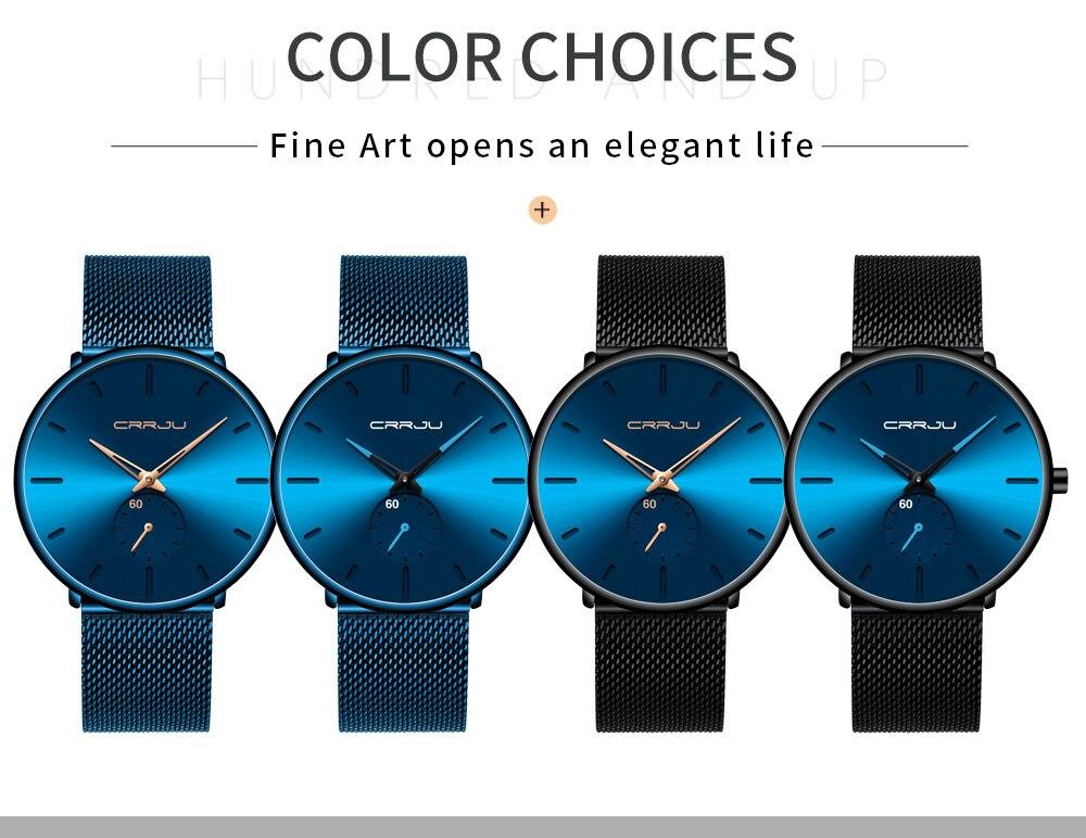 H1af230abb9314044ab92686610ea1a35f CRRJU Ultra Thin Blue Stainless steel Quartz Watches Men Simple Fashion Business Japan Wristwatch Clock Male Relogio Masculino