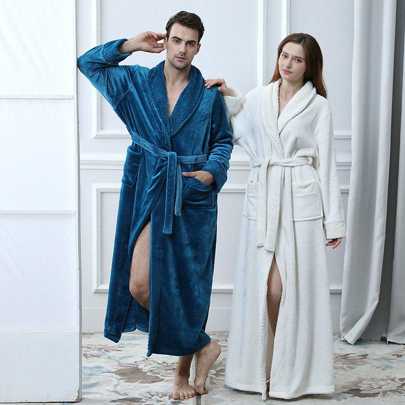Mens Long Flannel Cotton Warm Spa Bathrobe Robe Sleepwear Men's Sleep & Lounge Robes C81