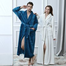 Mens Long Flannel Cotton Warm Spa Bathrobe Robe Sleepwear Men's