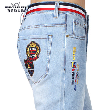 Stretch Loose Male Jeans Embroidery Design Straight leg MAN Jeans Casual Fashion Denim Jeans Soften thicken Cotton big size 42 zipper fly plus size cat s whisker design straight leg jeans