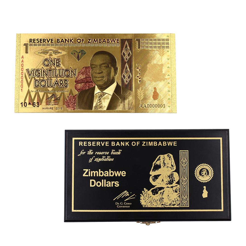 One Vigintillion Dollars Zimbabwe Gold Banknotes Fake Money Bills 24k Gold Foil Banknote with Box for Christmas Gifts 50pcs/lot