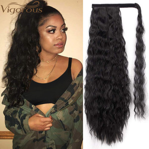 Vigorous Corn Wavy Long Ponytail Synthetic Hairpiece Wrap on Clip Hair Extensions Ombre Brown Pony Tail Blonde Fack Hair(China)