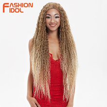 FASHION IDOL Hair Synthetic Wig Lace Front Wigs For Women Long Part 38 Inch Long Curly Ombre Blonde Wig With Dark Roots Wavy Wig цена 2017