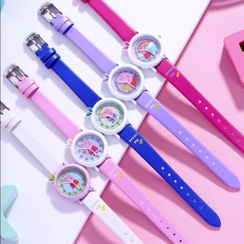 1pc 정품 peppa 돼지 디지털 시계 peppa 조지 돼지 테디 베어 그림 초등학교 학생 손목 시계 어린이 장난감 아이 선물