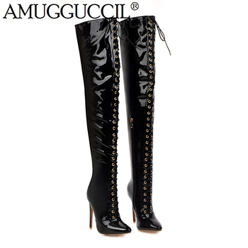 2020 New Plus Big Size 30-48 Black Red White Lace Up High Heel Sexy Over The Knee Thigh High Autumn Winter Lady Women Boot X1912