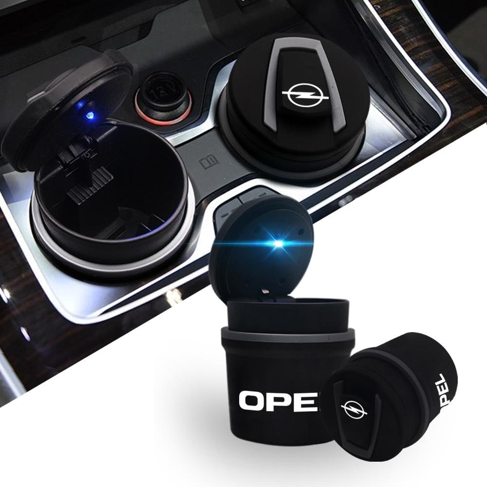 LED Portable Car Ashtray Cars High Flame Retardant Trash Automatic Light Mini simple Trash ashtray with light For Opel Kia BMW