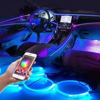 Luz Led ambiental decorativa para Interior de coche, tira de neón RGB, múltiples modos, aplicación de Control de sonido, lámpara de ambiente automática de 12v