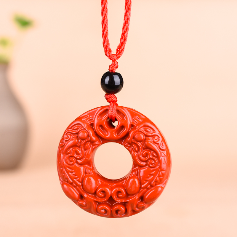 Chinese Natural Red Organic Cinnabar Dragon Necklace Pixiu Pendant Hand-carved Charm Jewellery Fashion Man Lucky Amulet Gifts