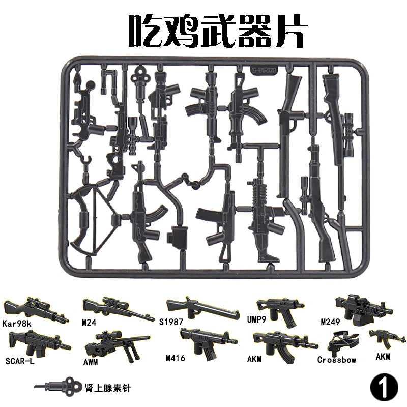 Legoing Militaire Swat Kar98k M24 M416 Akm UMP9 Cijfers Awm Wapen Gun Bouwstenen Speelgoed Voor Kinderen Assembleren Wapens Legoings