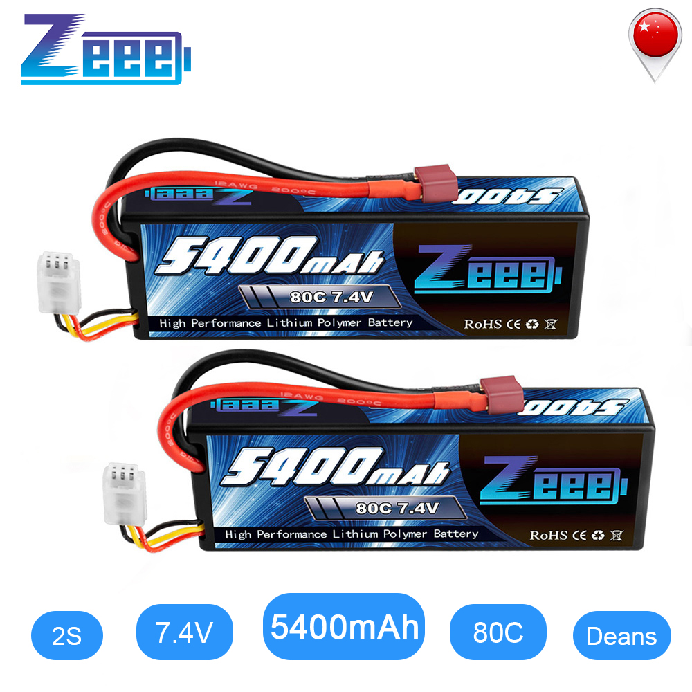 Zeee 5400mAh 80C 2S 7.4V Lipo Battery Hardcase With Deans Plug 2units RC Lipo Battery For RC Car Boat Truck Helicopter