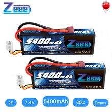 Zeee – batterie Lipo 5400mAh 80C 2S 7.4V, boîtier rigide avec prise dean, 2 unités, pour voiture RC, bateau, camion, hélicoptère