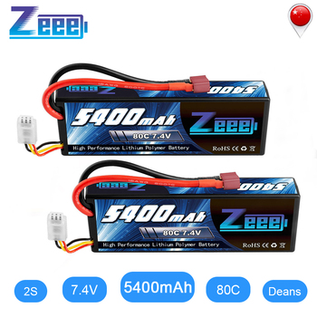 Zeee 5400mAh 80C 2S 7.4V Lipo Battery Hardcase with Deans Plug 2units RC Lipo Battery for RC Car Boat Truck Helicopter 1 pcs lion power lipo battery 2s 7 4v 1500mah 25c max 35c fast charging rc lipo battery for rc boat helicopter