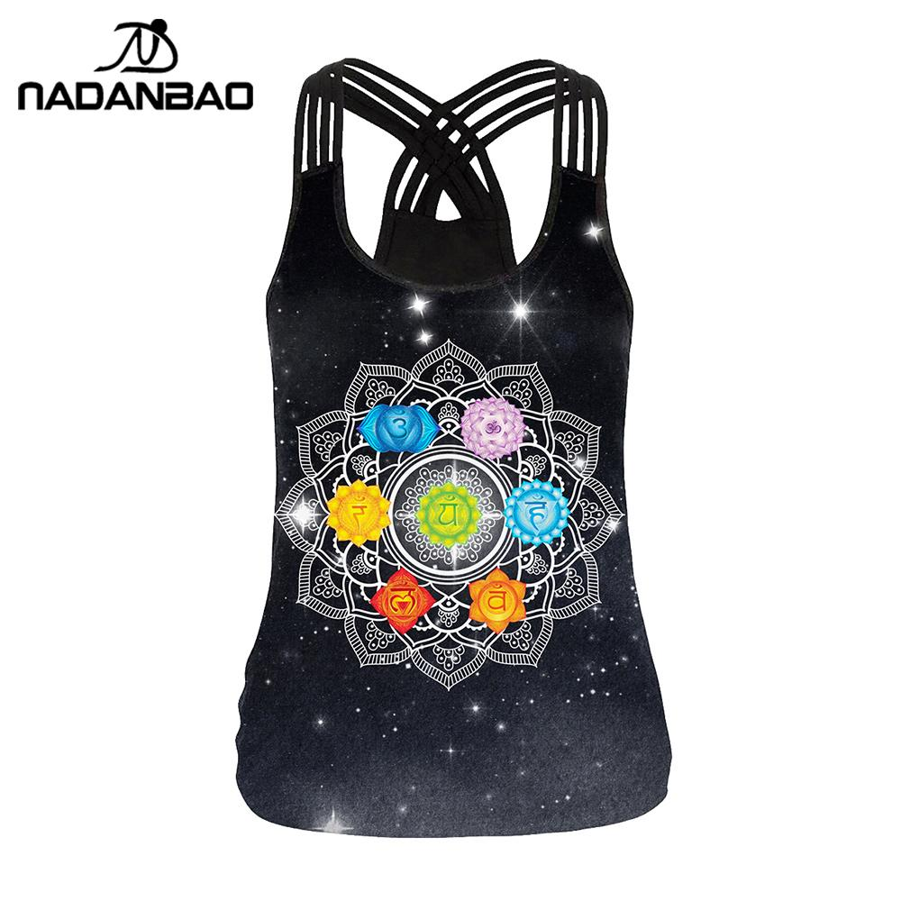 NADANBAO Chakra Mandala Women Vest   Tops   Fashion 3D Print Aztec Round Ombre Flower Sling   Tops   Sexy Backless   Tank     Top