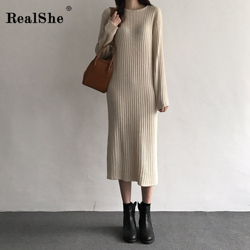 RealShe Sweater Women 2019 O-Neck Full Sleeve Knitted Fall Sweaters Dress Winter Long Woman Pullover Wool