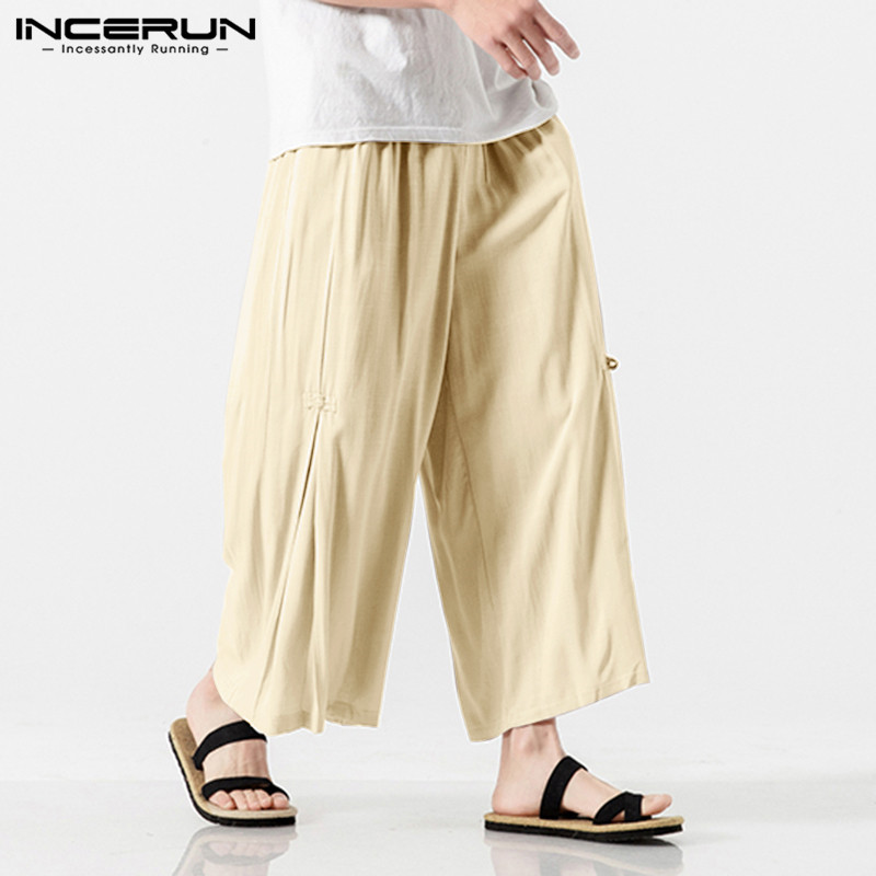 Men Cotton Linen Cropped Cross Pants Summer Male Casual Wide-Legged Bloomer Waist Rope Straight Calf-Length Trousers 5XL INCERUN