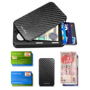 Image 5 - 새로운 가져 오기 카드 홀더 남자 지갑 탄소 섬유 미니멀리스트 Rfid 지갑 신용 카드 은행 비즈니스 ID 카드 홀더 케이스