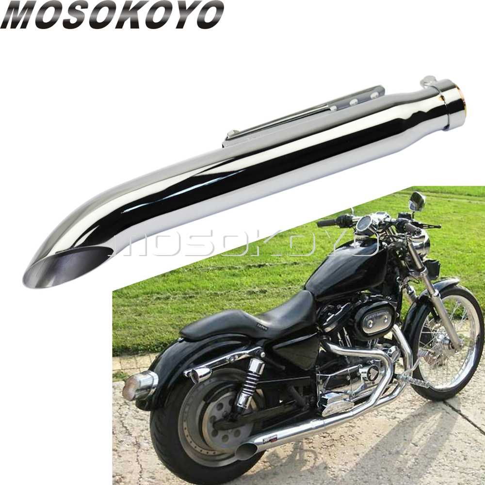 chrome motorcycles 410mm turn out exhaust muffler for harley dyna fxd sportster 883 iron 48 1200 custom 35 41mm silencer pipes