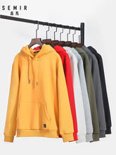 SEMIR Hoodies Men Fleece Lined Hooded Sweatshirt Pocket Cotton Pullover Hoodies Elastic Hood Ribbed Cuff sweatshirt