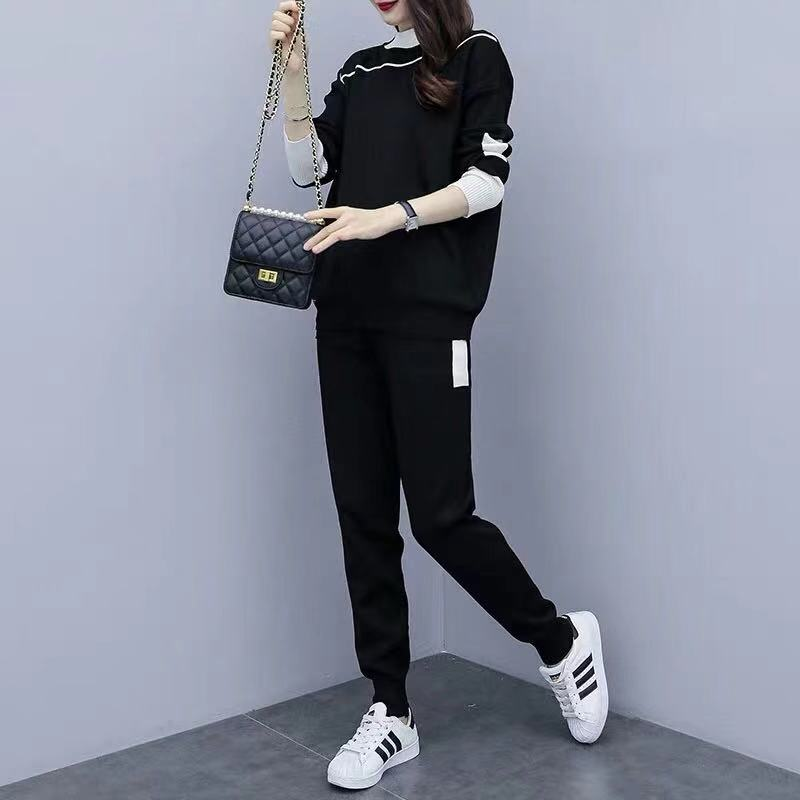 2019 Autumn Black Knitted Two Piece Sets Outfits Women Plus Size Long Sleeve Tops And Pants Suits Casual Fashion Korean Sets 24