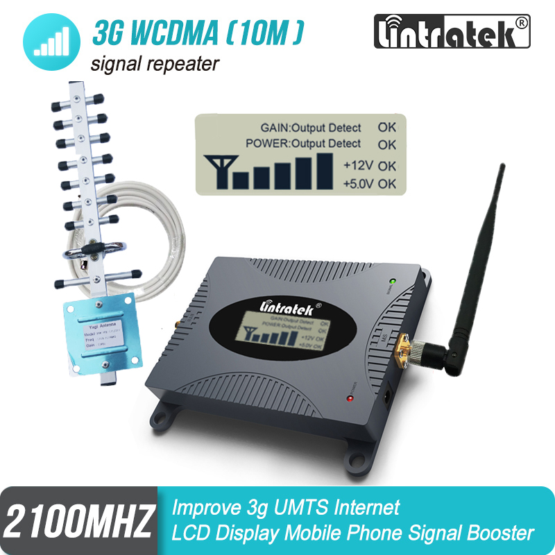 2100mhz Cellular Signal Repeater 3G Booster WCDMA UMTS Network Strengthen 2100 Internet Voice Call Amplifier Full Yagi Kit#30