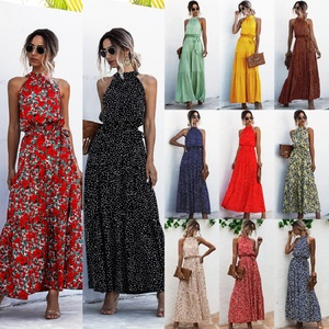 Summer Elegant Sexy beach long Dress Women 2020 Fashion Print Flowers Polka-dot strap Ladies Halter boho dress women vestidos(China)